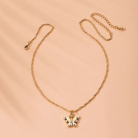 retro diamond-studded butterfly necklace clavicle chain necklace wholesale nihaojewelry NHAI240646's discount tags