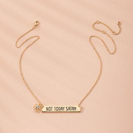 simple  letter four-leaf clover pendant necklace wholesale nihaojewelry NHAI240647's discount tags