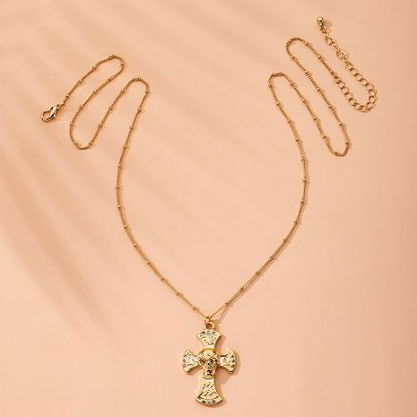 fashion alloy cross pendant necklace popular Halloween skull necklace wholesale nihaojewelry NHAI240654's discount tags