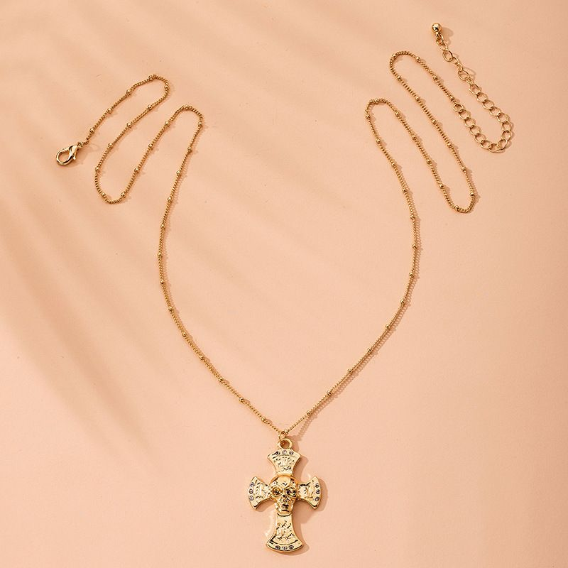 fashion alloy cross pendant necklace popular Halloween skull necklace wholesale nihaojewelry NHAI240654