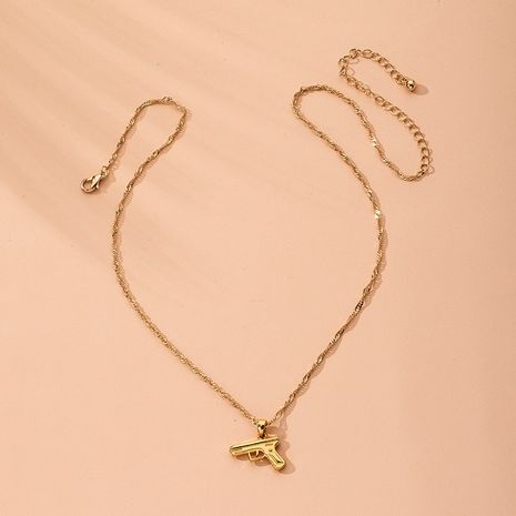 Hot Sell Simple Clavicle Chain Pistol Pendant Hiphop Fashion Necklace wholesale nihaojewelry NHAI240656's discount tags