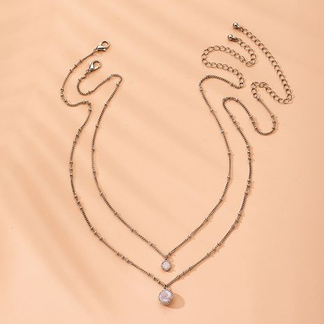 Hot sell alloy diamond necklace fashion hollow pendant multi-layer necklace wholesale nihaojewelry NHAI240657's discount tags