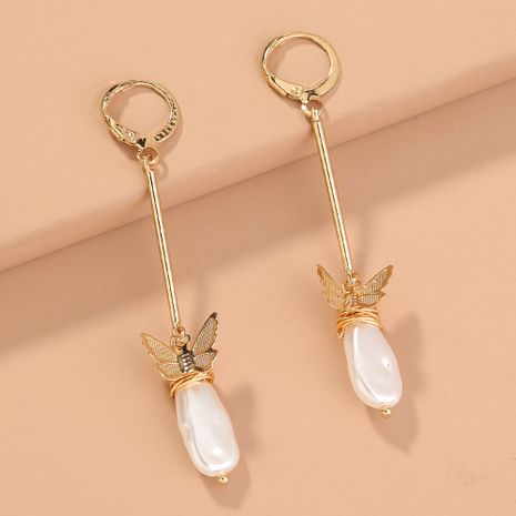 new trend long  O-shaped  wild butterfly shaped pearl earrings wholesale   NHAN240665's discount tags