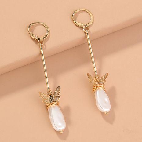 nueva tendencia larga en forma de O pendientes de perlas salvajes en forma de mariposa al por mayor NHAN240665's discount tags
