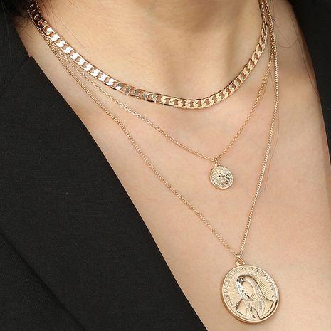new retro portrait disc cross multi-layer detachable necklace wholesale nihaojewelry NHAN240666's discount tags