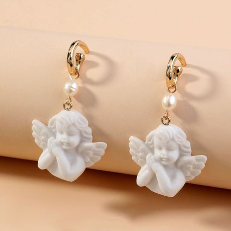 hot sale exaggerated cute pure white little angel statue  C-shaped  Cupid earrings wholesale   NHAN240668's discount tags