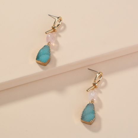 hot-selling knotted  wild blue edging imitation natural stone pendant earrings wholesale  NHAN240670's discount tags