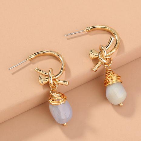 C-shaped metal  handmade natural agate earrings wholesale  NHAN240671's discount tags