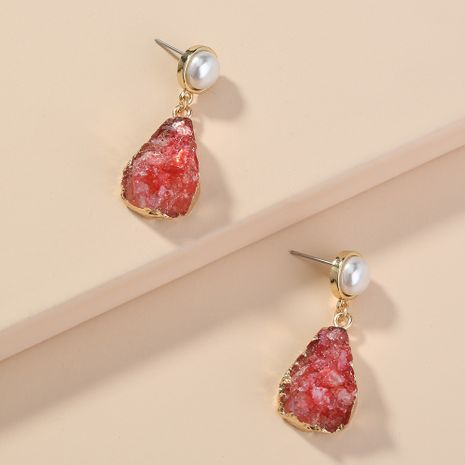 New pearl  water droplets imitation natural stone earrings wholesale  NHAN240673's discount tags