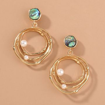 fashion  natural abalone shell diamond  multi-layer round pearl earrings wholesale  NHAN240678