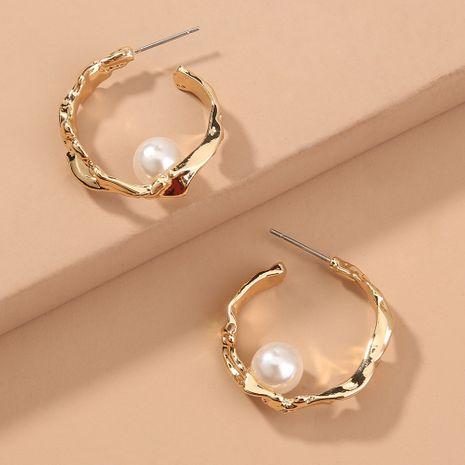 fashion simple semi-circle C-shaped pearl  geometric earrings wholesale  NHAN240679's discount tags