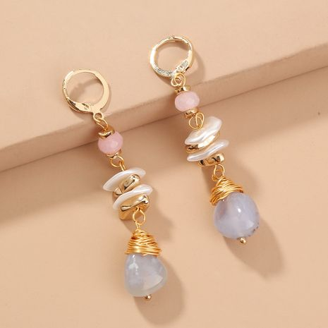 Venta caliente retro multi-elemento azul claro piedra natural moda de gama alta pendientes elegantes NHAN240683's discount tags
