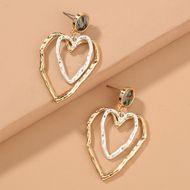 hot sale retro abalone shell  fresh versatile double-layer hollow love earrings wholesale  NHAN240682
