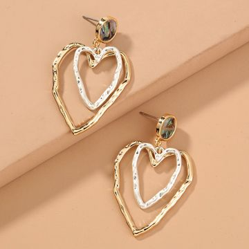 hot sale retro abalone shell  fresh versatile double-layer hollow love earrings wholesale  NHAN240682