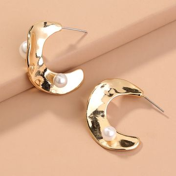 hot-selling exaggerated jewelry C-shaped semicircular metal pearl earrings  NHAN240681