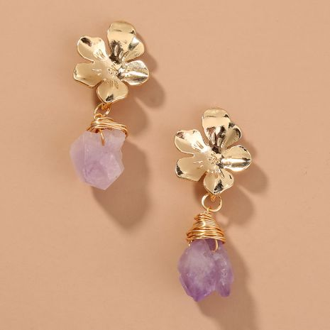 simple  flower light purple natural stone temperament high-end earring wholesale  NHAN240684's discount tags