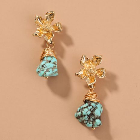 alloy flower  retro turquoise  temperament elegant earrings wholesale   NHAN240685's discount tags