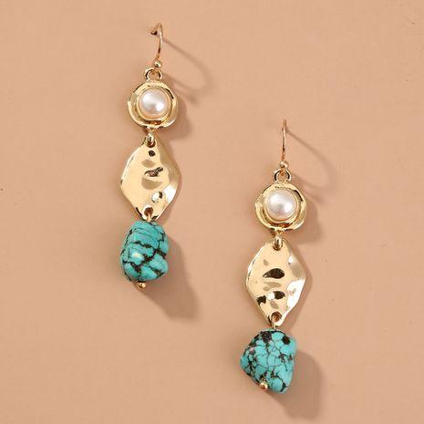 Turquoise retro earrings  new blue metal  earrings wholesale  NHAN240687's discount tags