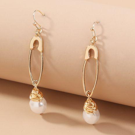simple  metal pin creative trend pearl earrings  wholesale   NHAN240686's discount tags