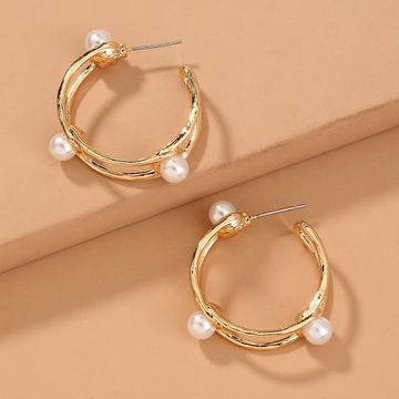 hot sale hollow C-shaped double pearl  metal texture fashion street style geometric earrings NHAN240688