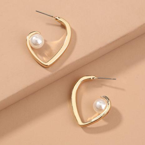 new trendy simple  small  metal love pearl earrings wholesale   NHAN240690's discount tags