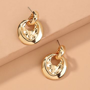 hot selling  exaggerated baroque metal texture  circle stud earrings wholesale NHAN240691