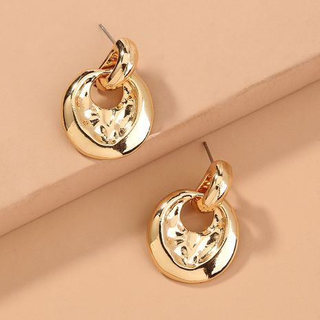 hot selling  exaggerated baroque metal texture  circle stud earrings wholesale NHAN240691's discount tags