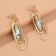 retro  oval abalone shell multi-layer fashion  earrings  NHAN240697