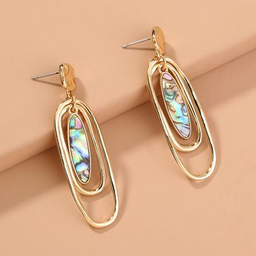 retro  oval abalone shell multi-layer fashion  earrings  NHAN240697