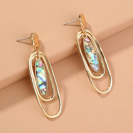pendientes de moda multicapa con concha de abulón oval retro NHAN240697's discount tags