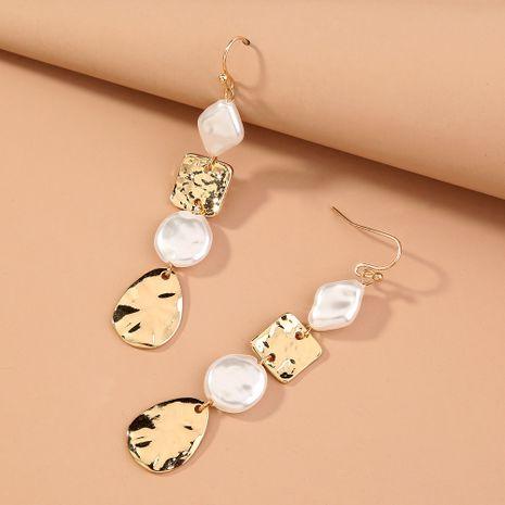 Korea  new fashion  geometric pearl long temperament earrings wholesale NHAN240700's discount tags
