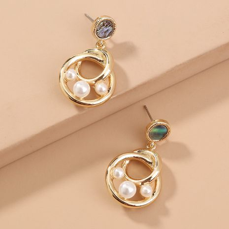 new simple  irregular retro simple abalone round pearl earrings wholesale  NHAN240707's discount tags