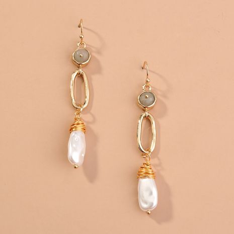 hot-selling exaggerated jewelry C-shaped semicircular metal pearl  simple wild earrings NHAN240708's discount tags