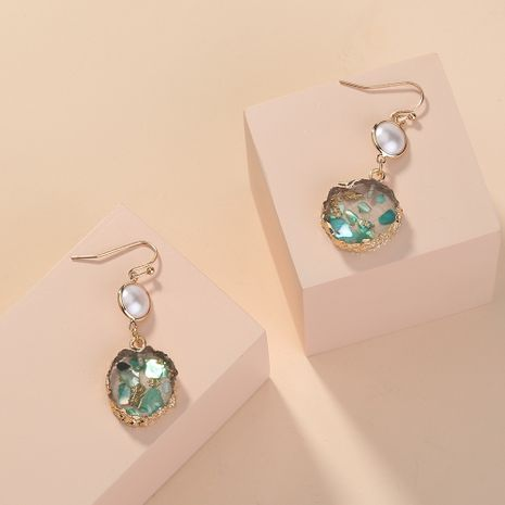 hot selling fashion  green transparent fresh round earrings wholesale  NHAN240709's discount tags