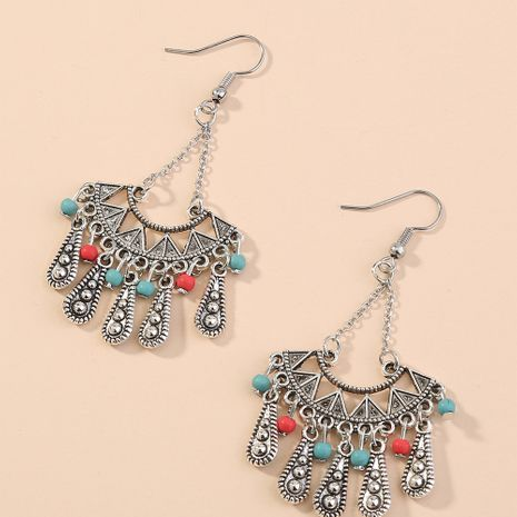 New  retro bohemian exaggerated popular  tassel fan-shaped long earrings NHAN240710's discount tags