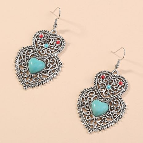 hot selling hollow turquoise  retro fashion personality creative double love earrings wholesale NHAN240713's discount tags