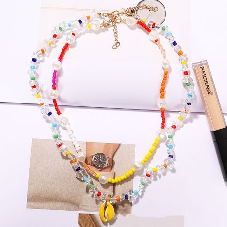 bohemian style color rice beads spray paint shell double layer simple star trend necklace wholesale nihaojewelry NHJQ240422's discount tags