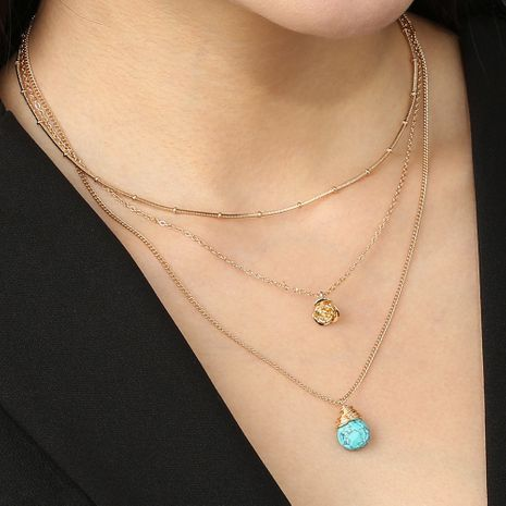 new elegant turquoise pendant multi-layered simple golden rose necklace  wholesale NHAN250906's discount tags