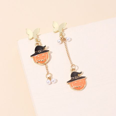 Halloween pumpkin elements earrings wholesale nihaojewelry NHRN250939's discount tags