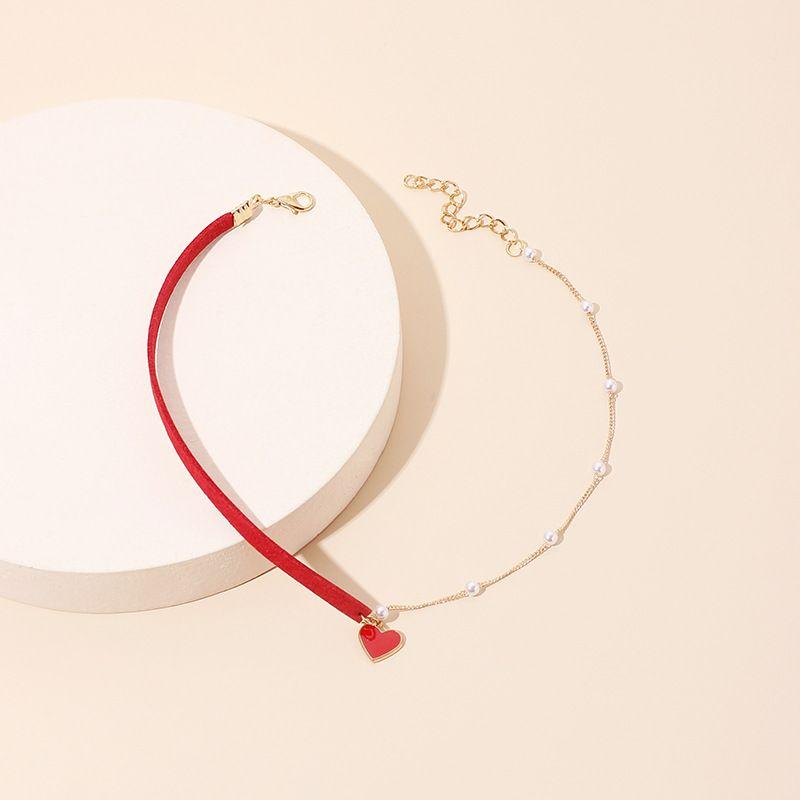 Asymmetric pearl love necklace women's clavicle chain  NHRN250940