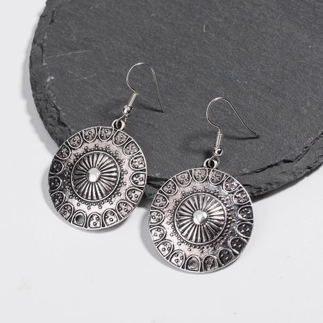 hot selling retro round ancient silver Roman earrings wholesale NHAN250928's discount tags
