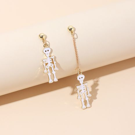 asymmetrical tassel skull Halloween earrings wholesale NHRN250944's discount tags