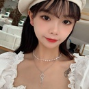 Doublelayer pearl key womens clavicle chain necklace set NHRN250945