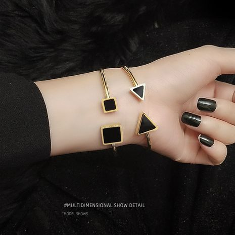 soft cord high elasticity triangle square black shell titanium steel plated 18K real gold bracelet wholesale NHOK250969's discount tags