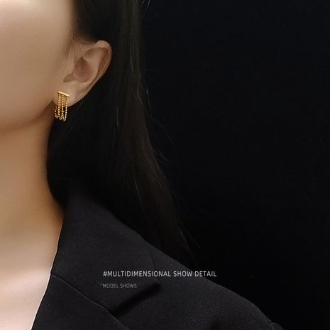 titanium steel three-layer bead chain tassel bead chain earrings wholesale NHOK250971's discount tags
