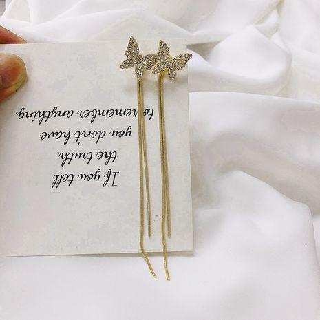 Butterfly diamond 925 silver needles Korean fashion long tassel earrings wholesale NHWF250986's discount tags