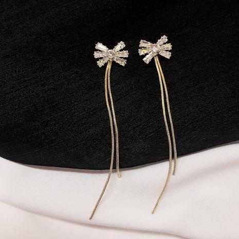 New long tassel elegant earrings 925 silver needles diamond bow earrings wholesale NHWF250985's discount tags