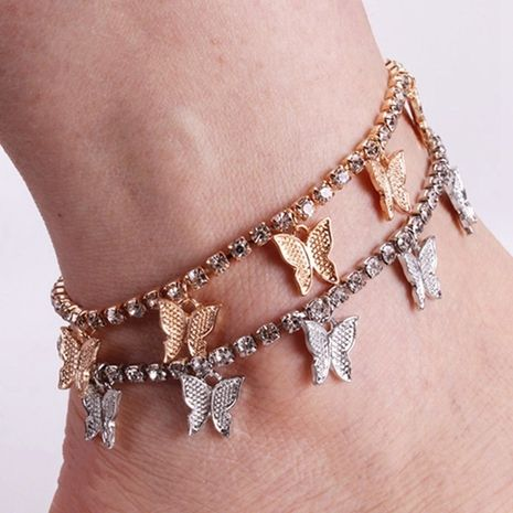 Fashion simple claw chain tassel fashion beach rhinestone small butterfly new alloy anklet  NHMO250994's discount tags