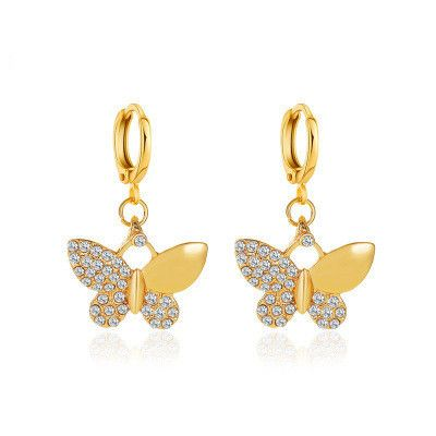 new simple diamond-studded butterfly earrings wholesale nihaojewerly NHMO250997's discount tags
