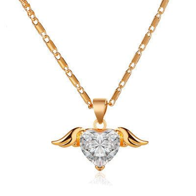 new little angel pendant love-shaped wings necklace  NHMO250998
